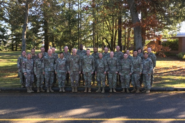 Maj. Gen. Dennis P. LeMaster, commanding general, RHC-P and Command Sgt. Maj. Clark Charpentier, senior enlisted advisor, RHC-P, hosted command teams from the Pacific region's direct reporting units during the 2019 Fall commander's symposium November 19-21, at the Club at McChord Field on Joint Base Lewis-McChord. The three day conference for Army Medicine leaders around the Pacific region allowed leaders to be active participants while helping to strengthen established relationships among fellow command teams.