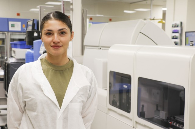 U.S. Army Spc. Vanessa Iturri, laboratory technician, Department of Pathology and Laboratory Services, Landstuhl Regional Medical Center, was recently selected to earn a commission as an Army Nurse Corps officer through the Army Medical Department's Enlisted to Commissioning Program, a reflection of the moral character Iturri, a Tampa, Florida native, has exhibited throughout her service.