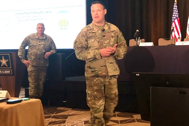 Col. Garth Winterle, Project Manager for Tactical Radios, describes how the capability set construct and the developmental operations process, which places developers side-by-side with Soldiers, is enabling incremental testing and fielding for the Integrated Tactical Network (ITN). CS 21, which fields ITN to infantry brigade combat teams, will provide critical feedback to plan for CS 23, which will field ITN to Stryker and Armored brigade combat teams. Winterle spoke at the Technical Exchange Meeting (TEM) 4, Capability Set 23, in Austin, Texas, on Nov. 21. (Photo Credit: U.S. Army photo by Kathryn Bailey, PEO C3T Public Affairs)