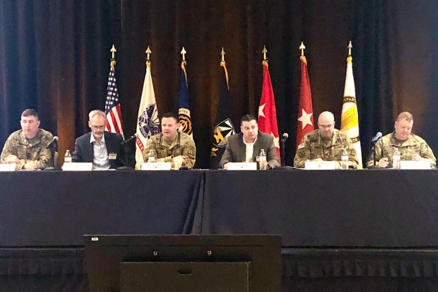 Col. Curtis Nowak, Operations Officer for the Network Cross-Functional Team (N-CFT), chairs the Unified Network Transport panel at the Technical Exchange Meeting (TEM) 4, Capability Set 23, hosted by the N-CFT, with Program Executive Office for Command, Control and Communications-Tactical and the U.S. Army Combat Capabilities Development Command C5ISR Center in Austin, Texas, on Nov. 21. Panel discussions included plans to enhance the network using low-Earth orbit and medium-Earth orbit satellite constellations. (Photo Credit: U.S. Army photo by Kathryn Bailey, PEO C3T Public Affairs)