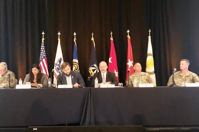 Brig. Gen. Robert Collins, Program Executive Officer for Intelligence, Electronic Warfare and Sensors (IEW&S), chairs the Common Operating Environment/Interoperability Panel at the Technical Exchange Meeting (TEM) 4, Capability Set 23, in Austin, Texas on Nov. 21.  Topics included data and cloud strategies to enable network modernization, mission command systems convergence and multiple network classifications to enable coalition interoperability. (Photo Credit: U.S. Army photo by Kathryn Bailey, PEO C3T Public Affairs)