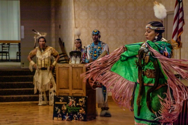 The Piscataway Indian Nation Singers and Dancers perform cultural dance, drum and song during a celebration for National American Indian Heritage Month at the Community Center on Joint Base Myer-Henderson Hall, Virginia, November 13, 2019.