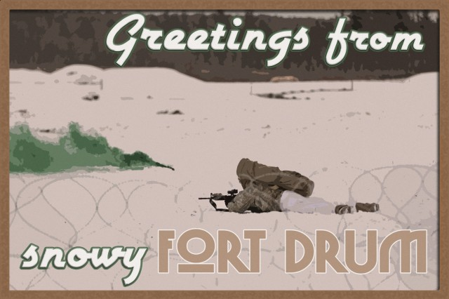 A vintage themed holiday postcard features infantry Soldiers of 2nd Battalion, 87th Infantry Regiment, 2nd Brigade Combat Team, 10th Mountain Division training in wintry conditions, November 20, 2019, at Fort Drum, New York. (U.S. Army photo illustration by Staff Sgt. Paige Behringer)