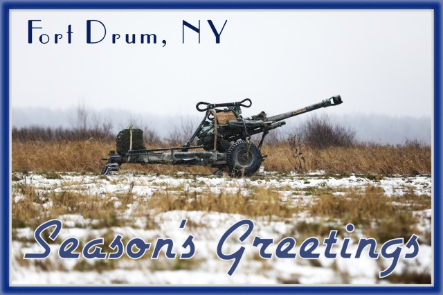 A vintage themed holiday postcard features an M119 Howitzer ready for Soldiers of 2nd Battalion, 15th Field Artillery Regiment, 2nd Brigade Combat Team, 10th Mountain Division, to complete table XV battery level gunnery certification, November 20, 2019, at Fort Drum, New York. (U.S. Army photo illustration by Staff Sgt. Paige Behringer)