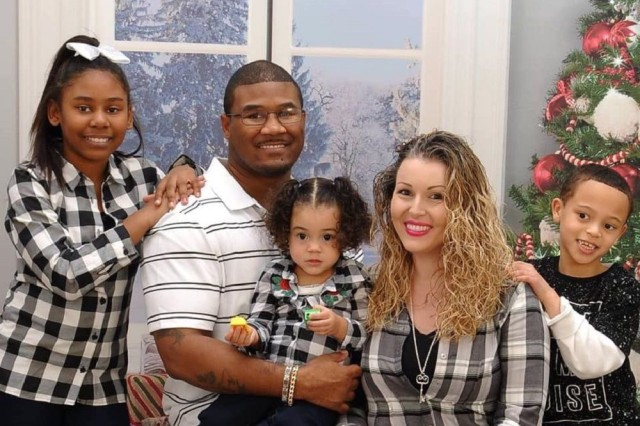 The Parker's include Aaliyah, Sgt. 1st Class Corey Parker, Aanya, Sarah and Julian.