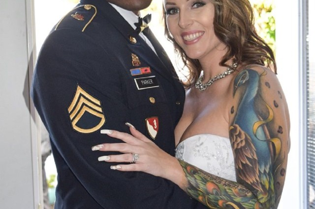 Sgt. 1st Class Corey Parker and Sarah celebrate their wedding day.