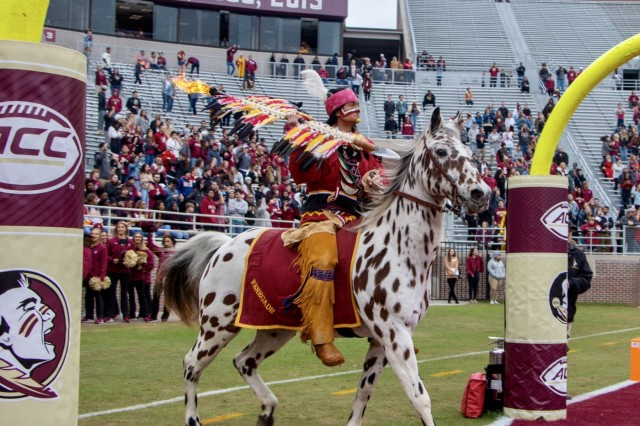 Osceola and Renegade mascot for the Florida State University Seminoles, introduces a Military appreciation football game recognizing Soldiers across the U.S., Nov. 16, at Doak Campbell Stadium. FSU defeated the University of Alabama State 49-12. (U.S. Army photo by Spc. Devron Bost/released)