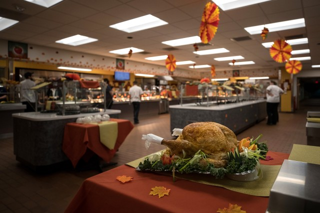 The Madigan Grille Dining Hall typical serves over 400 meals each Thanksgiving, with weeks of meticulous preparation going into the meal by Nutrition Care Division staff.