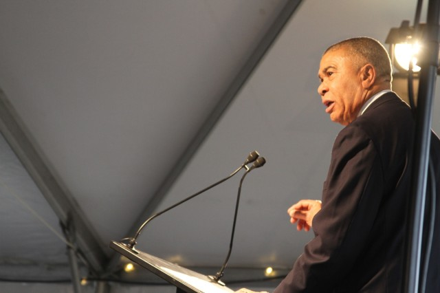 Rep. Wm. Lacy Clay, Missouri-1st District spoke during the ceremony attended by significant federal, state and local dignitaries present, the National Geospatial-Intelligence Agency with many partners celebrated the symbolic groundbreaking for beginning of construction on the 97-acre campus in North St. Louis November 26, 2019.