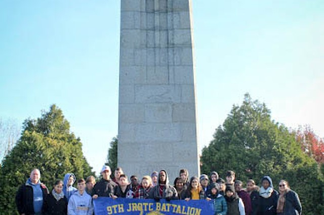 The 9th Battalion Junior Reserve Officer Training Corps at Flanders, Belgium during a visit to Ypres, Belgium Nov. 8-11 to study WWI. During the trip, they visited several historic sites reflecting the landscape were Soldiers fought.