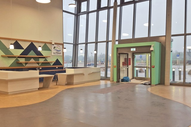 An inside view of the lobby of the new Wiesbaden Outdoor Recreation Center on Clay North.