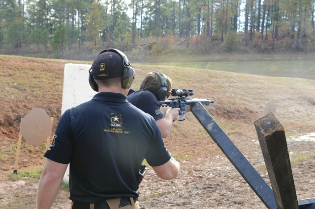 A participant engages targets during the 2019 Fort Benning Multi-gun Challenge on October 17, 2019. The annual event was facilitated by the United States Army Marksmanship Unit and co-hosted by the Fort Benning Directorate of Morale, Welfare and Recreation and the Maneuver Center of Excellence. U.S. Army photo by Sgt. 1st Class JaJuan S. Broadnax.