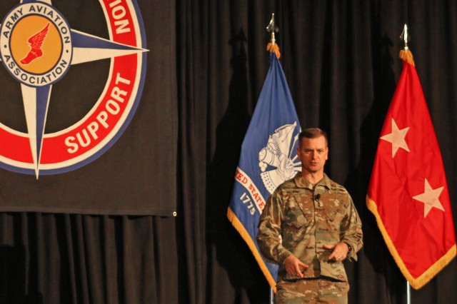 AMCOM Commander Maj. Gen. Todd Royar addresses attendees at the 47th Annual Cribbins Aviation Product Support Symposium in Huntsville, Alabama, Nov. 21.