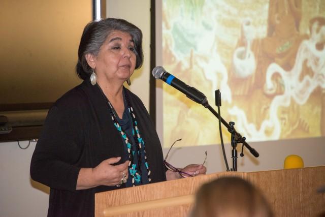 Guest speaker Louise Miranda Ramirez, Chairwoman of the Ohlone/Costanoan-Esselen Nation