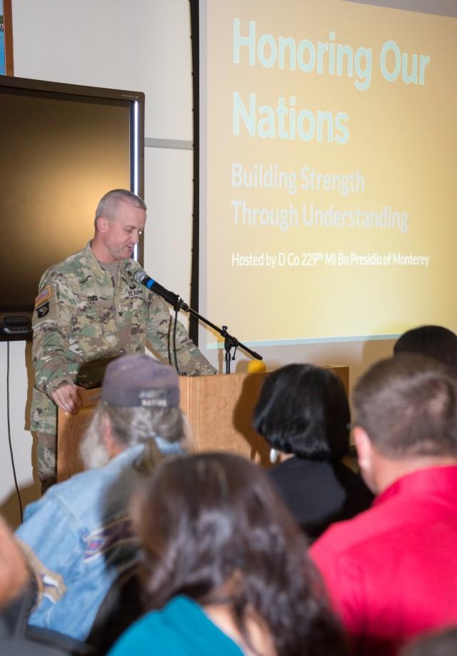 Garrison Commander Col. Gregory Ford introducing guest speaker Louise Miranda Ramirez, Chairwoman of the Ohlone/Costanoan-Esselen Nation.