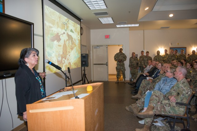 The 229th Military Intelligence Battalion, Delta Company hosted an observance in recognition of National Native American Heritage Month at Khalil Hal on the Presidio of Montereyl, Nov. 14. The observance highlighted the history and language of the local Ohlone/Costanoan-Esselen Nation who have called the Monterey Bay area home for thousands of years.