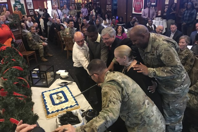 Leaders and members of the Army Inspector General community cut a ceremonial cake during the Inspector General 242nd birthday celebration in Arlington, Virginia, Nov. 22, 2019. The U.S. Army Inspector General system was created Dec. 13, 1777, by an act of the Continental Congress. (U.S. Army photo by Lt. Col. Kenneth D.A. Cook)