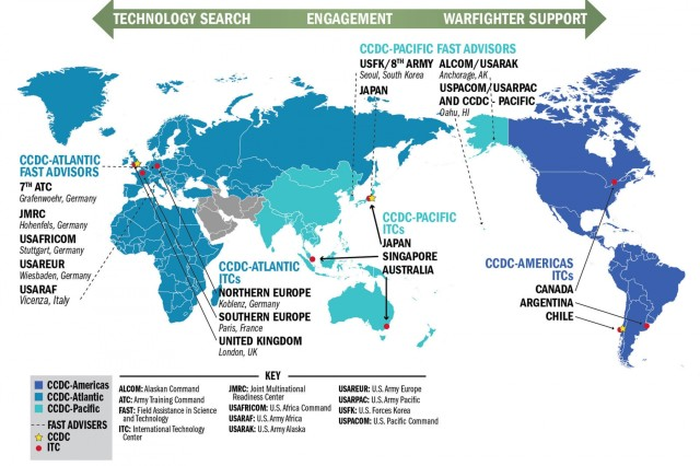 This map shows the location of the U.S. Army's International Technology Centers around the world.