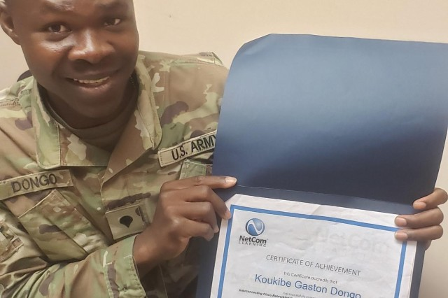 Spec. Koukibe Dongo shows off his CISCO Networking Training certificate. Army Credentialing Assistance helped him achieve his goal. Learn more about Credentialing Assistance at Army COOL.