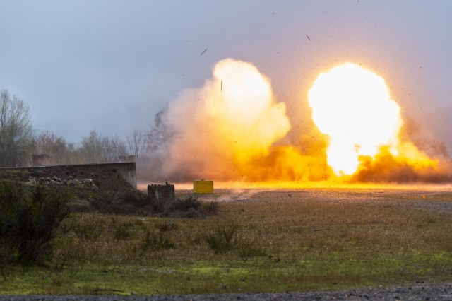U.S. Army Soldiers with Alpha Company, 54th Brigade Engineer Battalion, 173rd Airborne Brigade detonate explosive charges as part of a demolition range during Exercise Full Tang at Baumholder, Germany Nov. 18, 2019. Exercise Full Tang is a ten day battalion level exercise that focuses on individual, squad and convoy tactics to prepare Soldiers for future operations and deployments. (U.S. Army photo by Ismael Ortega)