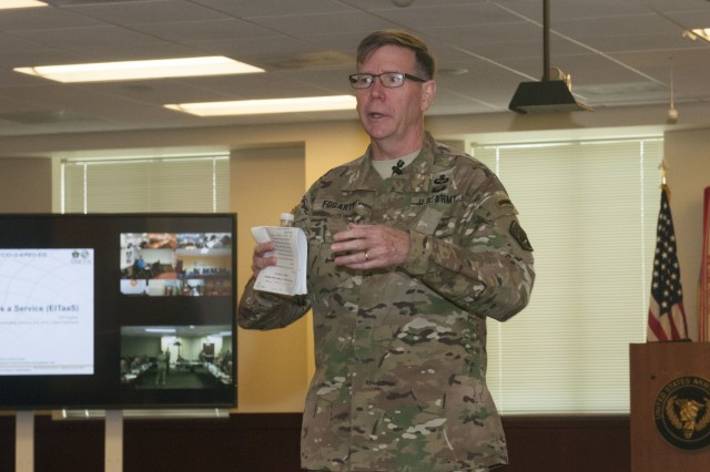 Lt. Gen. Stephen G. Fogarty, the commanding general for the U.S. Army Cyber Command, talked to senior leaders from all three components in the U.S. Army during the U.S. Army Reserve Chief Information Officer/Signal Workshop in the Office of the Chief of the Army Reserve on Fort Belvoir, Virginia, May 14-15, 2019. The workshop gave signal and cyber officers the opportunity to synchronize the Army Network Plan and discuss the way ahead. It also reinforced the importance of an efficient integrated network and its impact on readiness. (U.S. Army Reserve photo by Sgt. Stephanie Ramirez)