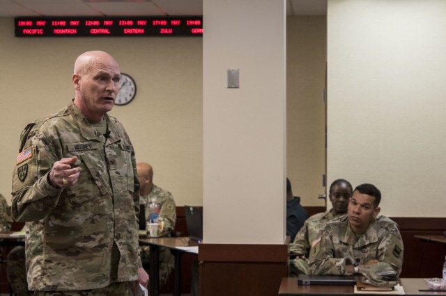 Senior leaders from all three components in the U.S. Army gathered, both in person and through video teleconference, for the U.S. Army Reserve Chief Information Officer/Signal Workshop in the Office of the Chief of the Army Reserve on Fort Belvoir, Virginia, May 14-15, 2019. The workshop gave signal and cyber officers the opportunity to synchronize the Army Network Plan and discuss the way ahead. It also reinforced the importance of an efficient integrated network and its impact on readiness. (U.S. Army Reserve photo by Sgt. Stephanie Ramirez)