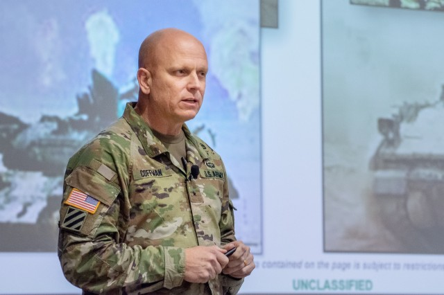 Brig. Gen. Ross Coffman speaks during the latest Army Leader Exchange lecture Dec. 3, 2019 in Eisenhower Hall's DePuy Auditorium, Fort Leavenworth, Kan. Coffman is currently the Director of the Next Generation Combat Vehicle Cross Functional Team, the organization responsible for modernizing the Army's combat vehicles. Photo by Dan Neal.