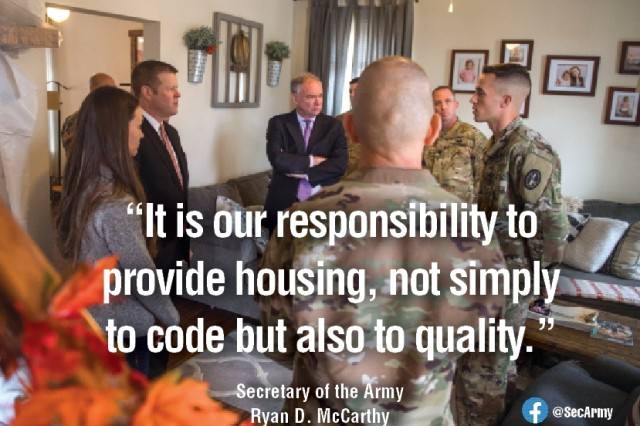 Secretary of the Army, Ryan D. McCarthy, along with Sgt. Maj. of the Army, Michael A. Grinston, and Senator Tim Kaine (Va.) visit with families on Fort Belvoir, Va., Monday. McCarthy, Grinston and Kaine spoke to families and media about housing issues.