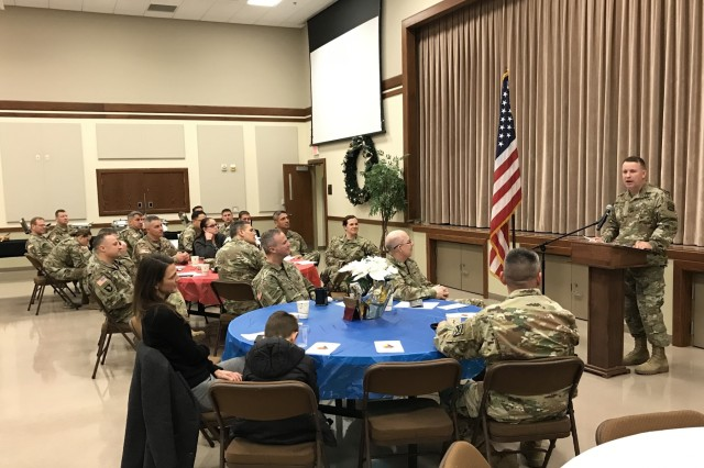 Col. Shane Morgan, commander of the Mission Command Training Program, speaking at a spiritual readiness breakfast at Frontier Chapel, Fort Leavenworth, Kansas, Dec. 4, 2019. Morgan shared his personal story about how he came to value spiritual fitness as key to being a balanced person.