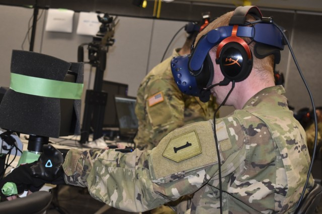 Soldiers of Fort Riley's 2nd Armored Brigade Combat Team, 1st Infantry Division test out prototypes for the Reconfigurable Virtual Collective Trainer - Ground during the Synthetic Training Environment Cross Functional Team's User Assessment at Fort Riley's Mission Training Complex April 22-26. Members of 2ABCT tested out different versions of the next generation of vehicle training simulators and provided their feedback to ensure the prototypes meet all required specifications prior to being fielded.