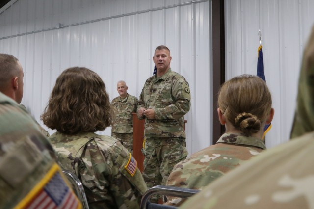 Col. Steven Denney, director of Plans and Operations for the Kansas Army National Guard (KSARNG),  address the competitors of the 2019 annual Kansas Army National Guard Best Warrior Competition during the closing ceremony held at the Great Plains Joint Training Center in Salina, Kansas, Nov. 3, 2019. Competitors completed an Army Physical Fitness Test, day and night land navigation, weapons qualification, the Air Assault obstacle course, a call for fire exercise, and a ruck march. Additionally, they tested on the new Army Combat Fitness Test.