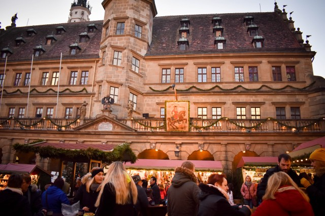 Each year Rothenburg creates a giant Advent calendar at city hall and invites Soldiers and families from USAG Ansbach to take part in the construction. During Rothenburg's Reiterlesmarkt each evening, a numbered window is opened on the giant Advent calendar while music is provided by a traditional German brass band.