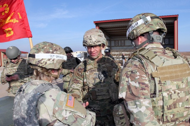 Sgt. Maj. of the Army Michael A. Grinston meets with 2nd Lt. Kathryn Brickle, and 1st Lt. Alan Zollar, B Battery, 1st Battalion, 19th Field Artillery platoon leader, and executive officer, respectively, Dec. 6, 2019, at Fort Sill's 25 Meter II Range.