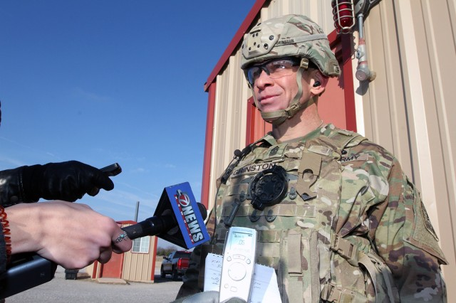 Sgt. Maj. of the Army Michael A. Grinston meets with the media Dec. 6, 2019, at Fort Sill, Oklahoma. He said he attended Basic Combat Training and Advanced Individual Training here to become a field artillery Soldier; and also was a drill sergeant at Fort Sill from 1997-99.