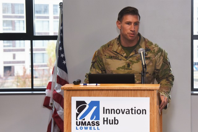 """CCDC Soldier Center 1SG Sean Caruso briefs participants of the innovation collaboration workshop titled, """"Wearable Sensors for Platoons Conducting Multi-Domain Urban Operations: Utility, Feasibility, Manufacturability,"""" held at the University of Massachusetts, Lowell's Innovation Hub on November 12-13."""