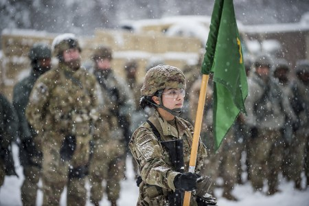 A U.S. Army Reserve Soldier with 200th Military Police Command, stands in front of the formation bearing the unit guidon during a field training exercise at Fort Meade, Md., Jan. 13, 2019. The 200th MP Command provides trained and ready MP Soldiers, leaders and units-of-action to the Total Force in order to enable protection and promote the rule of law to win the nation's wars. (U.S. Army Reserve photo by Master Sgt. Michel Sauret)