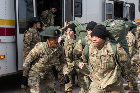 Fort Leonard Wood welcomes its newest Soldiers to Company E, 2nd Battalion, 10th Infantry Regiment, Jan. 29, 2019. (Photo by U.S. Army Fort Leonard Wood)
