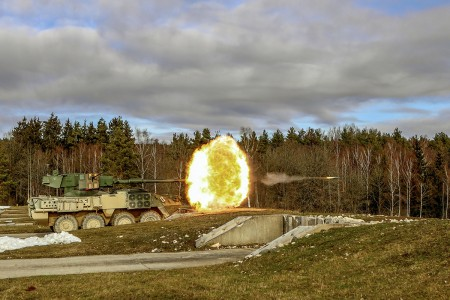 A U.S. Army mobile gun system Stryker variant belonging to Quickstrike Troop, 4th Squadron, 2nd Cavalry Regiment, fires upon several targets during a week-long gunnery range at the Grafenwoehr Training Area, Germany, Feb. 14, 2019. Gunnery was the culminating event for their multi-month training progression. (U.S. Army photo by Sgt. Timothy Hamlin)