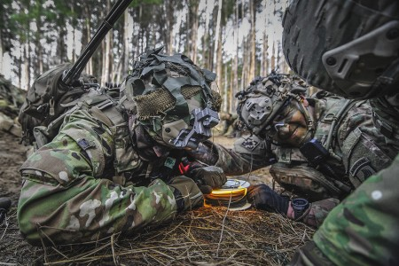 Paratroopers assigned to the 173rd Airborne Brigade pull an M81 igniter to detonate a brazier charge during Exercise Rock Spring 19 at Grafenwoehr Training Area, Germany, March 6, 2019. (U.S. Army photo by Sgt. Henry Villarama)