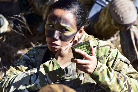 U.S. Army Capt. Julissa Myers, Paratrooper assigned to the 173rd Brigade Support Battalion, 173rd Airborne Brigade, puts the finishing touches to her face paint camouflage in preparation a blank-fire exercise as part of Lipizzaner V at Pocek Range in Postonja, Slovenia, March 12, 2019. Lipizzaner is a combined squad-level training exercise in preparation for platoon evaluation, and to validate battalion-level deployment procedures. (U.S. Army photo by Paolo Bovo)