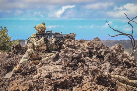 Spc. Justin B. Anderson, a Grenadier with 1st Battalion, 21st Infantry Regiment strives for maximum lethality on the battlefield as he participates in a Platoon Live-Fire Training on Pohakuloa Training Area, Hawaii April 3, 2019. (U.S. Army photo by Spc. Geoff Cooper)