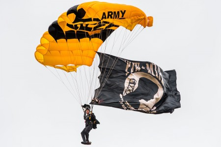 A Soldier with the U.S. Army Golden Knights Parachute Team prepares to land at Fort Bragg, N.C., April 6, 2019, in celebration of Fort Bragg Day. (U.S. Army photo by Sgt. Brian Collet)