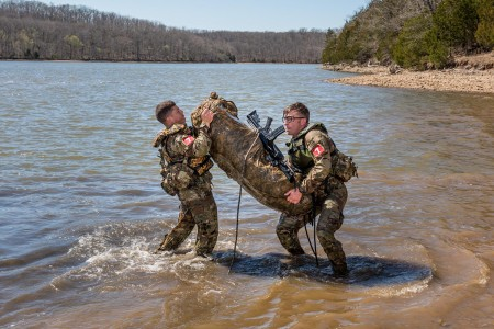 "Soldiers from the 65th Brigade Engineer Battalion participate in the Best Sapper Competition at Fort Leonard Wood, Mo., April 8, 2019. The demanding three-day competition moves 50 of the Army's elite Sapper teams across 50 miles of terrain in 50 hours, completing engineering tasks along the way. Organized into two-person teams, the competition's concept is to not only determine the next ""Best Sapper"" team, but to challenge and test the service members' knowledge, physical prowess and mental fortitude. (U.S. Army photo by Michael Curtis)"