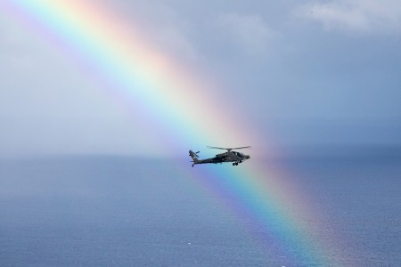 The 25th Combat Aviation Brigade, 25th Infantry Division, fly AH-64 Apache helicopters in an organized formation around Oahu, Hawaii, May 1, 2019. (U.S. Army photo by Sgt. Ryan Jenkins)