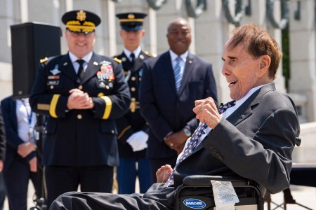 Former Sen. Bob Dole addresses the crowd during his honorary promotion ceremony at the World War II Memorial in Washington, D.C., May 16, 2019. Dole, who was medically discharged as a captain after being severely wounded in WWII, was promoted to colonel. (U.S. Army photo by Sean Kimmons)
