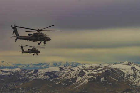 Army AH-64 Apache aircrews conduct formation practice at Camp Williams, Utah, June 5, 2019, before the funeral flyover for Army Air Forces 2nd Lt. Lynn W. Hadfield, whose remains were recovered after being listed as missing in action for 74 years. (U.S. Army photo by Warrant Officer 1 Frederick Bittner)
