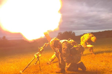 Soldiers with 2nd Battalion, 108th Infantry Regiment fire a M120 120mm mortar system during table six gunnery at Fort Drum, N.Y., July 22, 2019. The crews became the first in the state to qualify using the digital Mortar Fire Control System. (U.S. Army photo by Matthew Day)