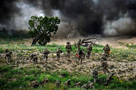 Soldiers conduct explosive breaching using Bangalores during a platoon live-fire exercise, Aug. 14, 2019, on Fort Carson, Colo. Soldiers are from 12th Infantry Regiment, 2nd Infantry Brigade Combat Team, 4th Infantry Division. (U.S. Army photo by Capt. Chelsea Hall)