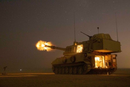Soldiers fire a M109A6 Paladin in support of the joint training exercise Eager Lion 19, Amman, Jordan, Aug. 27, 2019. (U.S. Army photo by Spc. Angel Ruszkiewicz)