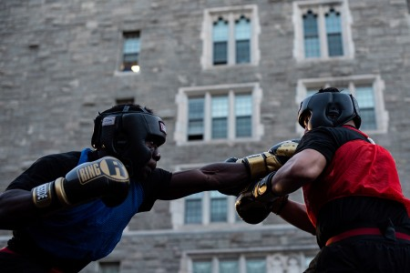 U.S. Military Academy cadets go toe-to-toe in the boxing ring during the 2019 Central Area Boxing Rumble in West Point, N.Y., Sept. 20, 2019. (Photo by U.S. Military Academy at West Point)